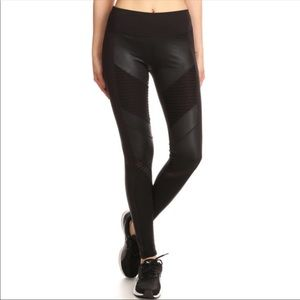 Faux Leather Moto Leggings with Mesh